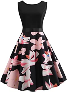 Women Vintage Dress Sexy Sleeveless Floral Print Evening Party Prom Swing Dress with Sashes