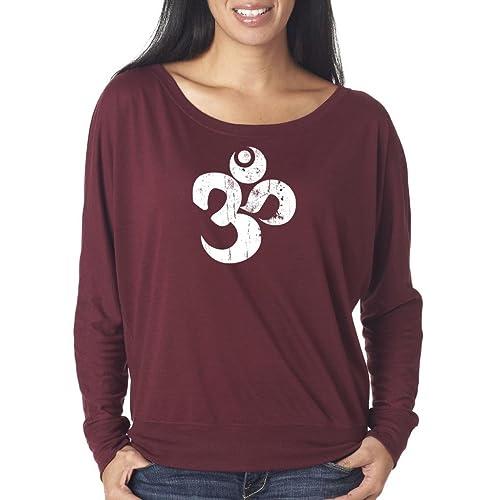 22122b724985c Yoga Clothing For You Ladies Distressed OM Boho Tee Shirt