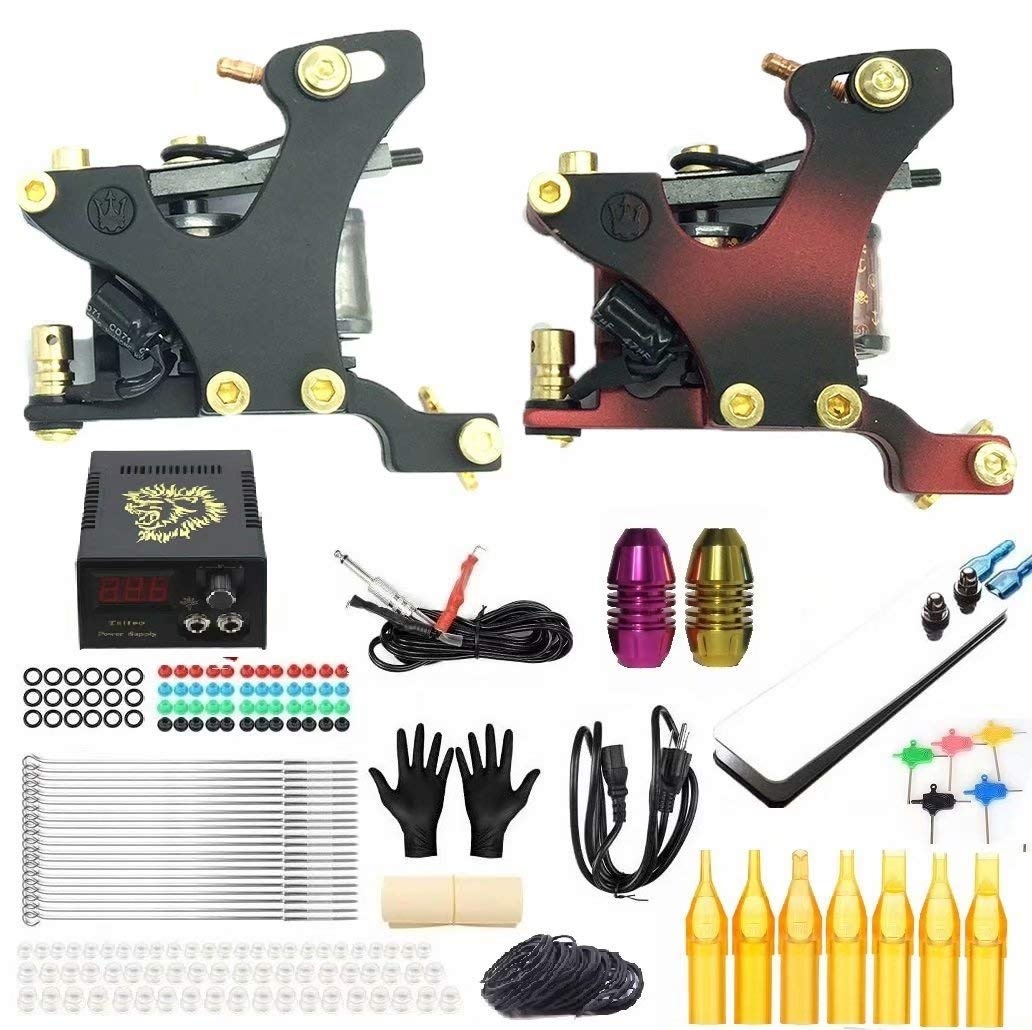 In stock Complete Tattoo Kit Popular 2 Machines Power Grips Supply Needles C Tips
