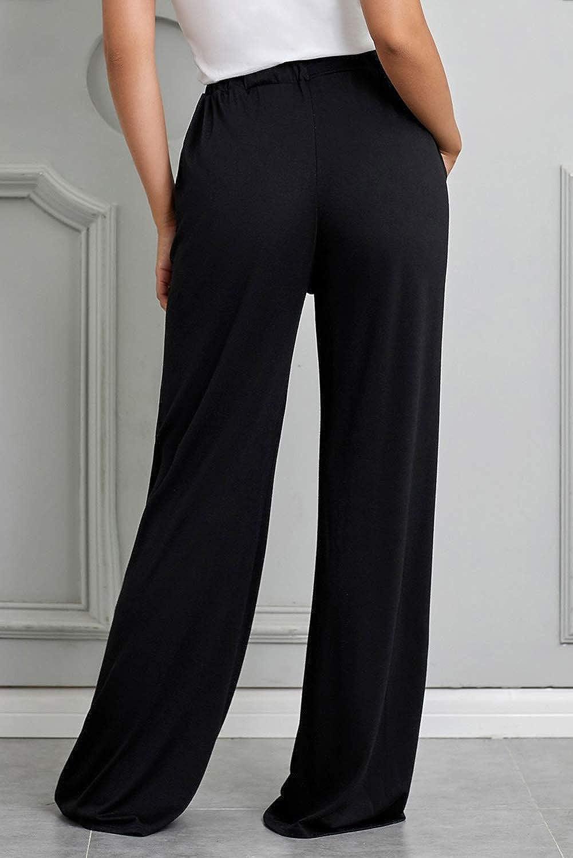 Ladybranch Womens Comfy Stretch High Waist Drawstring Palazzo Wide Leg Lounge Pants