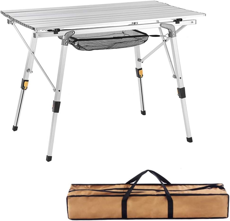 キャンピングテーブル 調節可能な脚付き ロールアップテーブルトップ