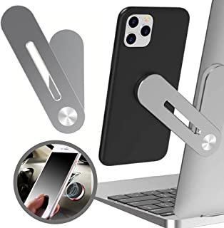 Mobile Phone Holder for Laptop (Silver) Plus Multi-Purpose Magnetic Mount for Car or Home (Black) - Living 1 Life