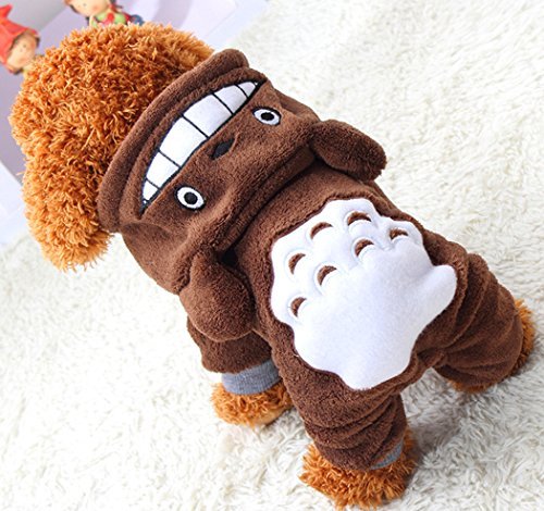 Xiaoyu Welpe Hundehund Haustier Kleidung Kapuzenjacke Pullover Warmer Pullover Welpe Welpe Herbst Wintermantel Doggy Mode Overall Jumpsuit Bekleidung, braun, XXL