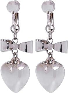 GrandUAE Women's Alloy Earring - Bow and Heart, Silver