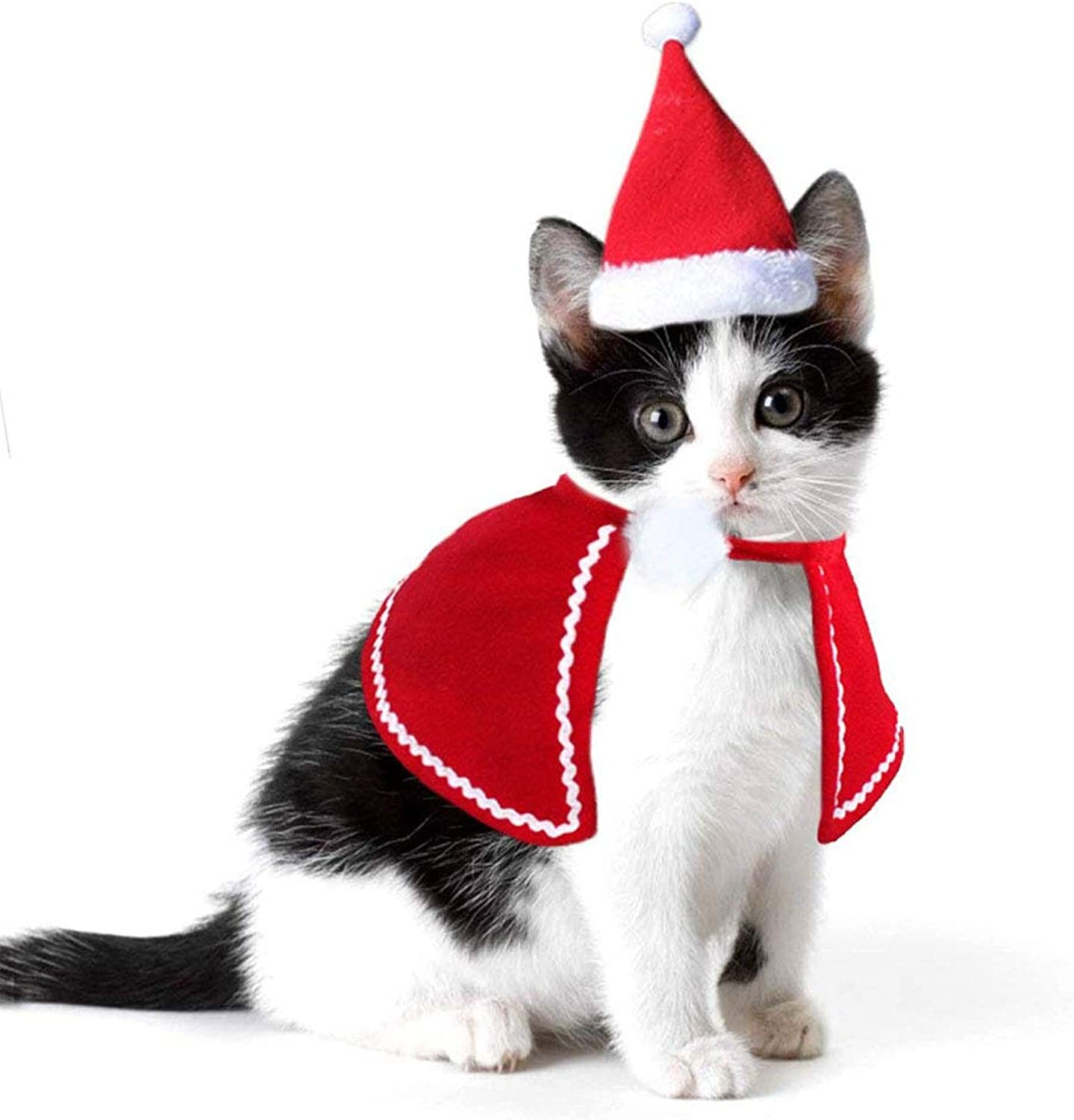 Adorable Cat Dog Costumes Cloak Cape Pet Clothes Shawl Scarf Outfit with Santa Hat Cute Cat Coat New Year Christmas Costumes for Puppy Kitten Small Dogs and Cats Holiday Accessory