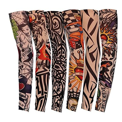 Lomire 6 Pcs Manguitos de Nylon Elástico Tatuaje Mangas Brazo UV ...