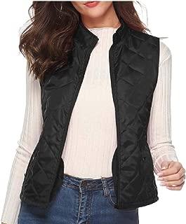 Women Lightweight Stand Collar Zip Up Quilted Gilet Puffer Jacket Vest