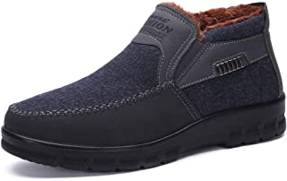 Men's Snow Boots Moccasins Slippers Plush Loafers Warm Lined Driving Indoor Outdoor Winter Non-Slip Elderly Walking Sneaker Shoes