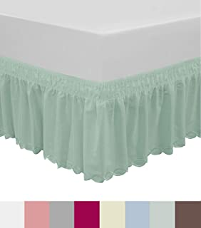 QSY Home Wrap Around Elastic Eyelet Bed Skirts Dust Ruffle Three Fabric Sides Easy On/Easy Off Adjustable Polyester Cotton 14 1/2 Inches Drop(Light Green Queen/King)