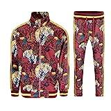 G-Style USA Men's Royal Floral Tiger Track Suit ST559 - Burgundy - X-Large
