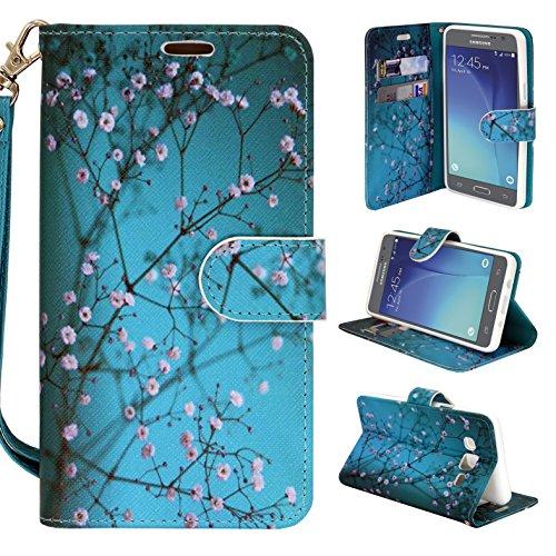 Galaxy On5 Case, Galaxy On5 Case, Customerfirst - Premium PU Leather Flip Fold Wallet Pouch Case for Samsung Galaxy On5 + Emoji Keychain (Blossom Teal)