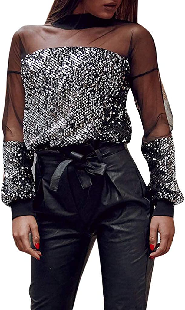 FRCOLT Fashion Womens Sequined Gifts Long Sleeve Lace Crew Manufacturer direct delivery Mesh B Neck