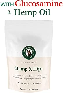 Veterinary Naturals Hemp & Hips Soft Chews Joint Supplement for Dogs – Hemp Oil, Turmeric and Glucosamine for Dogs - Joint Support for Dogs' Arthritis & Pain - Dog Joint Supplements