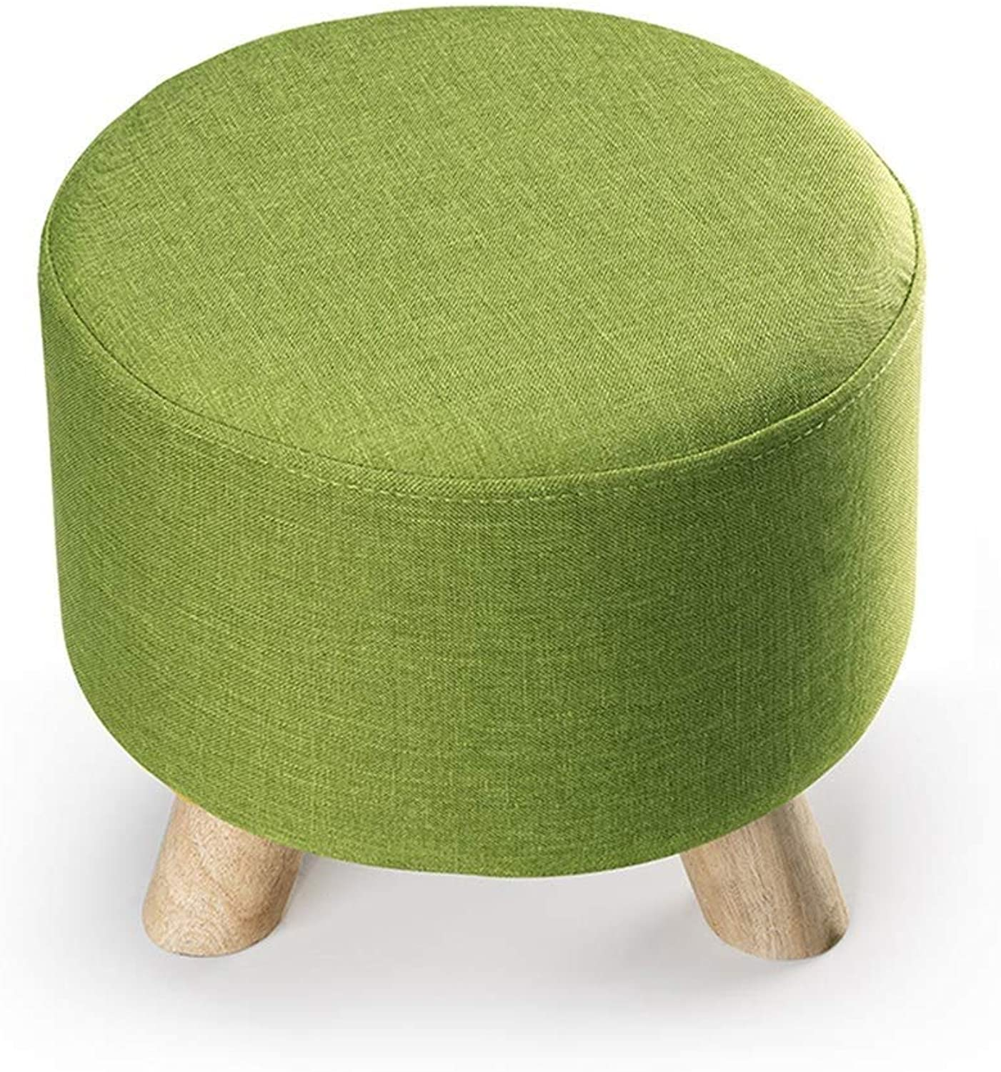 European Removable and Washable Fabric Solid Wood Three-Legged Small Stools Change shoes Stool Sofa Bench Wear shoes Stool FENPING (color   Green)