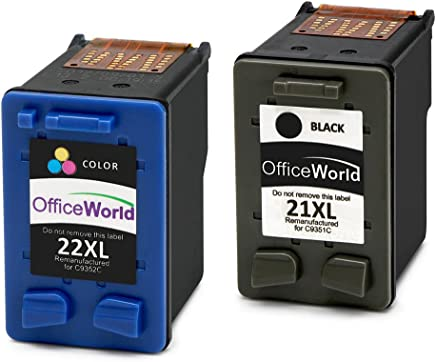OfficeWorld Remanufacturado HP 21 22 Cartuchos de Tinta 21XL 22XL Compatible con HP Deskjet F380 F4180 F2280 F2180 F370, HP PSC 1410, HP Officejet 4315 4355 (1 Negro, 1 Color)