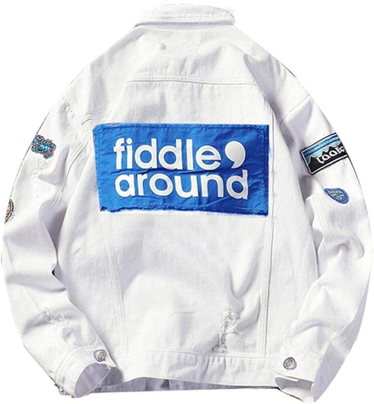 Men's White Ripped Denim Jacket Patchwork Streetwear Oversized Jeans Jacket