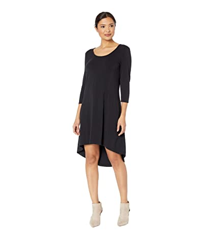 Mod-o-doc Cotton Modal Spandex Jersey High-Low Hem Dress with Keyhole Back (Black) Women
