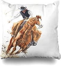 Ahawoso Decorative Throw Pillow Cover Standard 20x26 Watercolor Western Cowboy Riding Wild Man Horse Ride Calf Roping Animals Wildlife Rodeo Vintage Retro Zippered Pillowcase Home Decor Cushion Case
