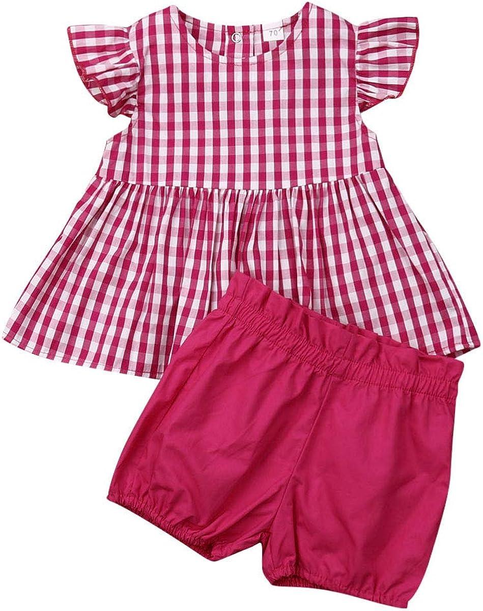 Newborn Baby Girls Fly Sleeve Ruffled Plaid T-Shirt Dress Button Top Shorts Summer Clothes Set 0-24M