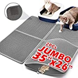 Upgraded Cat Litter Mats Extra Large 35'x26'(17.5'x26'x2Pcs),Cat Litter Mat Litter Trapping,Cat Mats for Litter Box,Kitty Litter Box Mat Double-Layer Waterproof PU Leather Edge (Can Be Spliced)