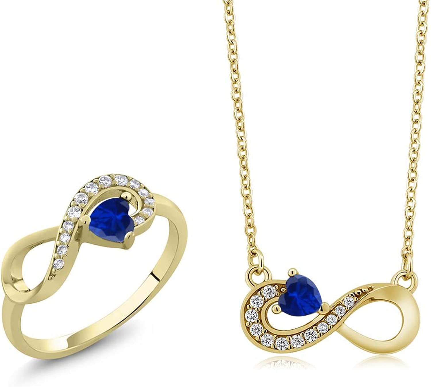 1.25 Ct bluee Simulated Sapphire 18K Yellow gold Plated Silver Ring Pendant Set
