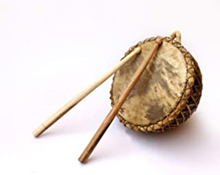 De Kulture Works™ Handheld Nagada Traditional Hand Drum with Mellets Indian Folk Musical Percussion Instrument Ideal for New Year / Anniversary / Birthday Gift for Girl / Woman / Boy / Man
