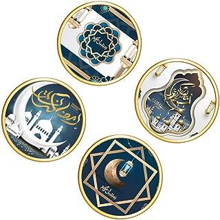 Tomaibaby 4pcs Ramadan Wall Stickers Islamic Eid Mubarak Wall Decals Islamic Self- adhesive Removal Window Cling Art Mural...