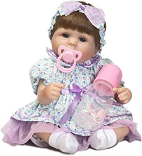 """Docooler Reborn Baby Doll Girl 17"""" Real Life Babies Art Doll Soft Cloth Body Great for Ages 3+ Purple Dress"""