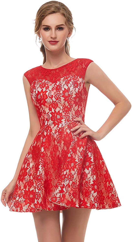 Alexzendra Short Red Lace Prom Dress Women's Homcoming Dress