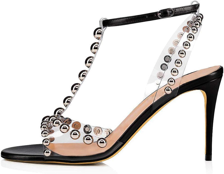 Sandals - Women's Sandals - Metal Studded Sandals - Buttoned Open Toe Sandals - Stiletto Sandals (8CM or More)
