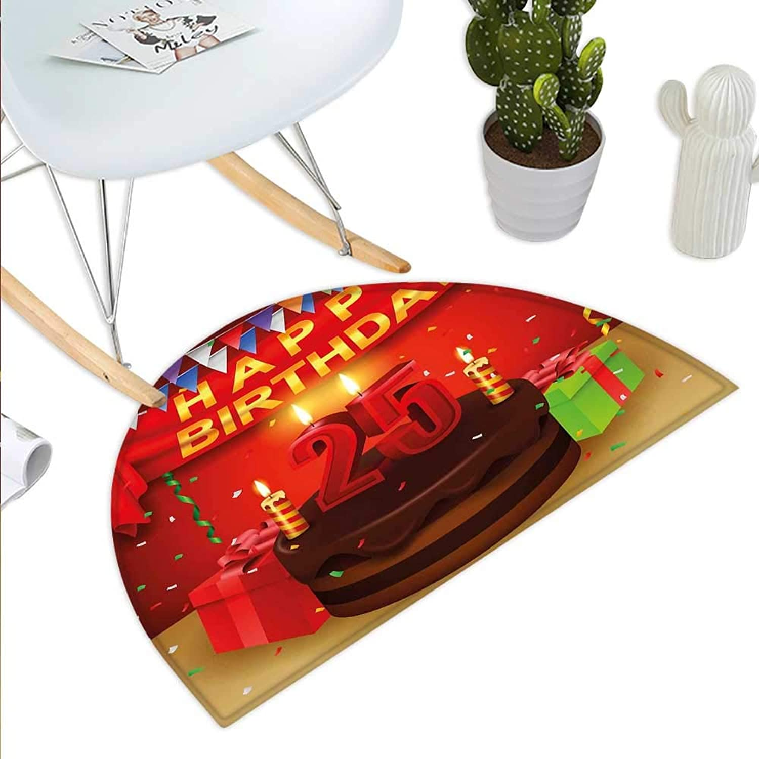 25th Birthday Semicircle Doormat Triangular Flags Presents Boxes Confetti Rain on Table with Cake colorful Halfmoon doormats H 43.3  xD 64.9  Multicolor