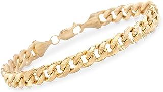 Ross-Simons Men's 7.8mm Miami Cuban Link Bracelet in 14kt Yellow Gold 8.5 Inch