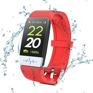 SHOUHUAN Pulsera Actividad, Pulsera Inteligente Pantalla Color HR con Pulsómetro Pulsera Deportiva y Monitor de Sueño de Actividad para Mujer Hombre Reloj Fitness Podómetrored