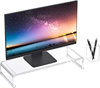Niubee Premium Acrylic Monitor Stand, Clear Transparent Monitor Riser Computer Stand for Home Office, Desktop Computer Mon...