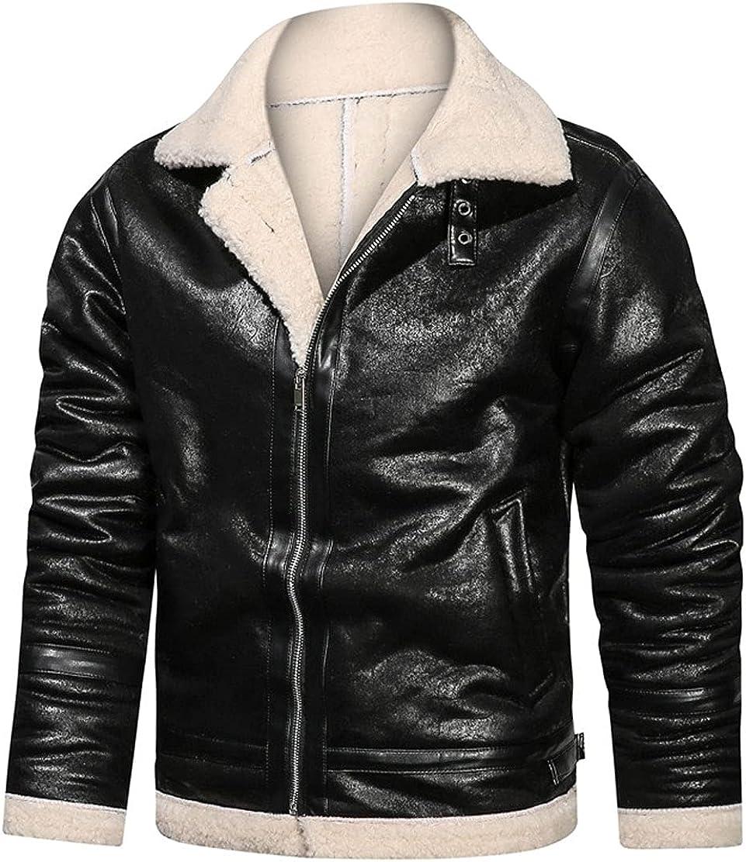 CHARTOU Men's Winter Faux Leather Fleece Jacket Zip Up Warm Moto Biker Coat Outwear