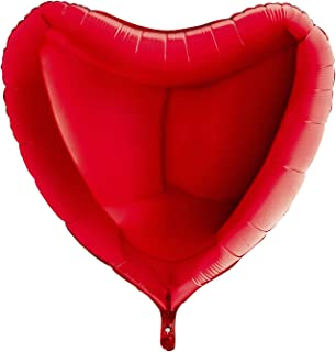 Grabo 36008R-P Heart Balloon Single Pack, Length-36 Inch, Colour-Red, One Size