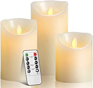 "TEECOO Flameless Candles Battery Operated : Candles 4""5""6""H (3.15""D) Set of 3 Ivory Real Wax Pillar LED Candles with 10-Key Remote and Cycling 24 Hours Timer -(Beautiful Decoration for Party)"