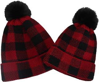 ROSEBEAR Chapeau Parent-Enfant Chapeau Assorti de Noël pour La Mère Enfant Bonnet Pompon d'hiver Bonnet à Carreaux en Tric...