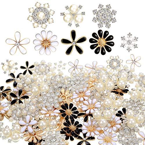 80 Piezas Botones Diamantes Imitación Botones Adornos Botones Perlas Imitación Botones Diamantes...