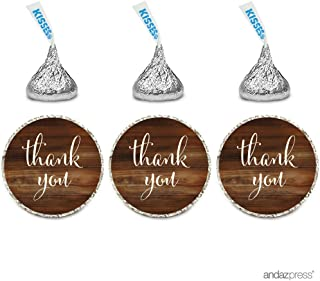 Andaz Press Chocolate Drop Labels Stickers, Thank You, Rustic Wood Print, 216-Pack, For Wedding Birthday Party Baby Bridal Shower Hershey's Kisses Party Favors Decor Envelope Seals