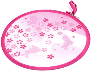 WEYNG Round Handheld Folding Fan Beautiful Pattern Special Style Portable Hand Fan for Wedding Party Decor Dancing Handheld Fan Great Gift (1 Unit Pink Cherry Blossoms)