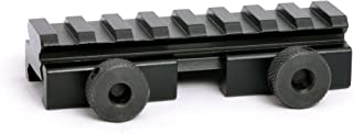 Flat Top 1/2 Half Inch Compact Riser Mount 8 Ring Slot Picatinny Top Rail with Large Clamping Thumb Screws