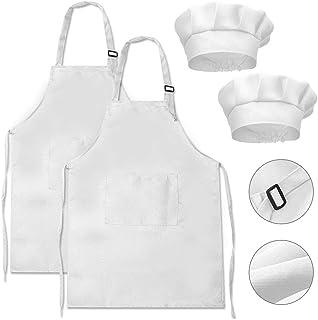 DECARETA Delantal de Cocina para niños de 2 Piezas 2 Piezas Sombrero de Chef Ajustable Delantales de algodón para niños Delantal de Chef Ajustable con 2 Bolsillos para niñas Niños de 4 a 12 años