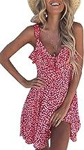 Uncinba Womens Summer Floral Mini Dress Sexy V Neck Ruffle Sleeveless Strap Cute Casual Sundress