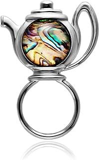 Transparent Glass Abalone Shell Teapot Magnetic Brooch Magnetic Badge Eyeglass Holder