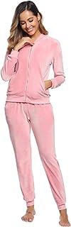Akalnny Tuta Sportive da Donna Giacche a Maniche Lunghe in Velluto con Cerniera Pantaloni a Vita alta Set Donna Casual Pig...