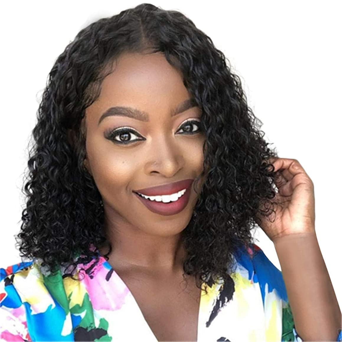 YOMXL Short Bob Wave Black Virgin Hair Brazilian Human Hair Lace Front Wigs Natural Color Baby Hair for African Americans14 Inches