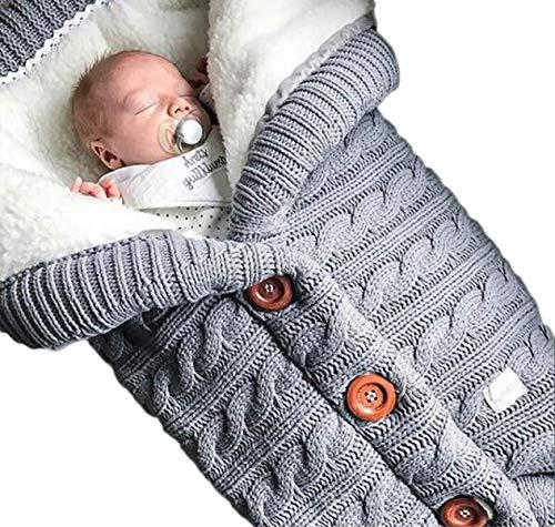 Baby-Puckdecke für Neugeborene, Fleece, Kinderwagen, Wickeldecke mit Samt, dick gestrickt, weich, warm, Pucksack, Schlafsack für Kinderwagen