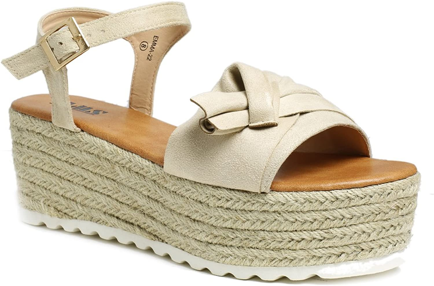 AMS Womens Wedge Platform Espadrille Sandals with Ankle Strap