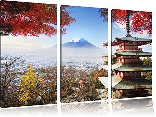 Pixxprint Tempio Giapponese in Autunno Stampa su Tela 3 Parti Artistica murale